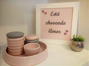 Kit Higiene Rosa e Cinza