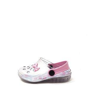 Babuche Infantil Gasf Cristal/Rosa com Led Gasf INF025