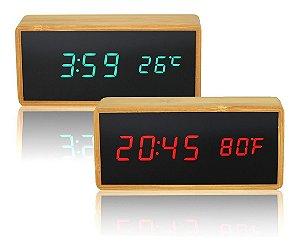 Relógio De Mesa Madeira Digital com Despertador