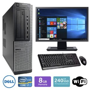 Desktop Usado Dell Optiplex 7010Int I7 8Gb Ssd240 Mon19W