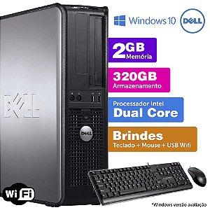 Desktop Usado Dell Optiplex INT Dcore 2GB DDR3 320GB Brinde
