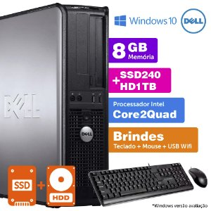 Desktop Usado Dell Optiplex INT C2Quad 8GB DDR3 SSD240+1TB