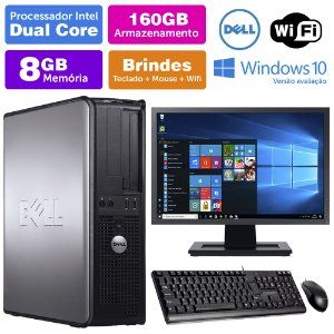 Desktop Usado Dell Optiplex INT Dcore 8GB DDR3 160GB Mon17W