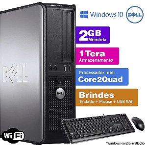Desktop Usado Dell Optiplex INT C2Quad 2GB DDR3 1TB Brinde
