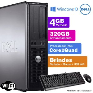 Desktop Usado Dell Optiplex INT C2Quad 4GB DDR3 320GB Brinde