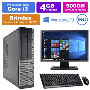 Desktop Usado Dell Optiplex INT i3 2G 4GB 500GB Mon19W