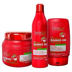 Kit Forever Liss Banho De Verniz Morango Completo Home Care