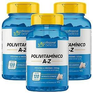 03 Polivitamínico 500mg A - Z Profissional Beleza 120 Cápsulas