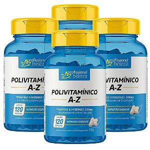 04 Polivitamínico 500mg A - Z Profissional Beleza 120 Cápsulas