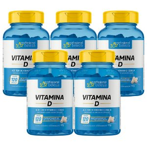 05 Vitamina D 2000ui Profissional Beleza 120 Cápsulas
