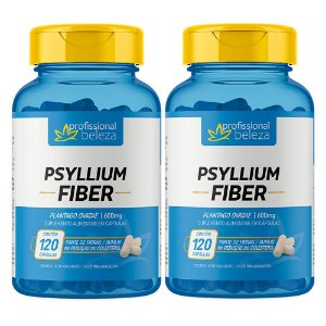 02 Psyllium Fiber 600mg Profissional Beleza 120 Cápsulas