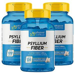 03 Psyllium Fiber 600mg Profissional Beleza 120 Cápsulas