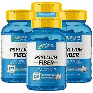 04 Psyllium Fiber 600mg Profissional Beleza 120 Cápsulas