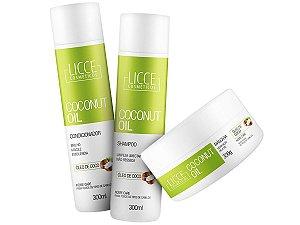 Kit Coconut Oil Shampoo + Condicionador + Máscara 300g Licce Cosméticos