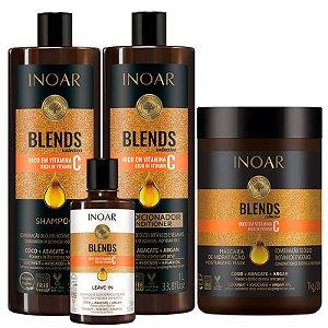 Inoar Kit Blends Shampoo+ Condicionador Litro + Máscara + Leave-in 300ml