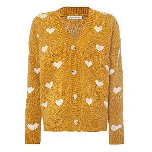Cardigan Facinelli Tricot Corações Amarelo