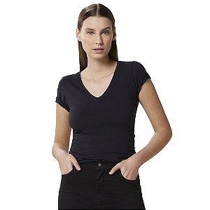 Blusa Hering Feminina  Básica Decote V Com Elastano Preto