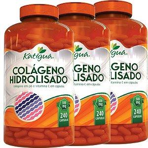 Kit 3 Colágeno Hidrolisado Com Vitamina C 240 Cápsulas Katigua