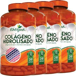 Kit 4 Colágeno Hidrolisado Com Vitamina C 240 Cápsulas Katigua