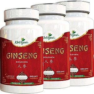 Kit 3 Ginseng Renshen (Panax) 400 mg 60 Capsulas Katigua