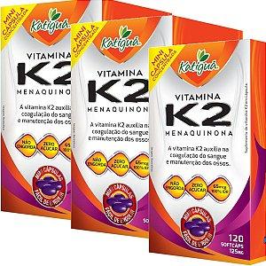 Kit 3 Vitamina K2 Menaquinona 120 Capsulas Minicapsulas Softgel Katigua