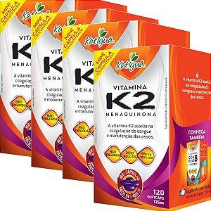 Kit 4 Vitamina K2 Menaquinona 120 Capsulas Minicapsulas Softgel Katigua
