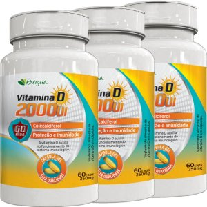 KIT 3 VITAMINA D 2000 UI 60 CAPSULAS KATIGUA
