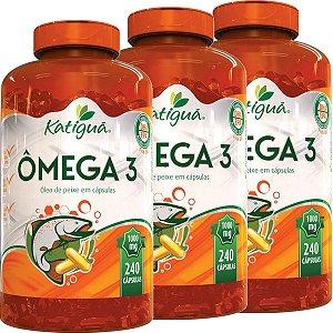 Kit 3 Omega 3 1000 mg 240 cápsulas Óleo de Peixe Katigua