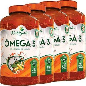 Kit 4 Omega 3 1000 mg 240 cápsulas Óleo de Peixe Katigua