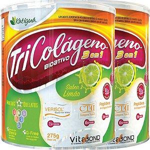 Kit 2 Tri Colágeno Bioativo 3 em 1 Limão 275g Katigua