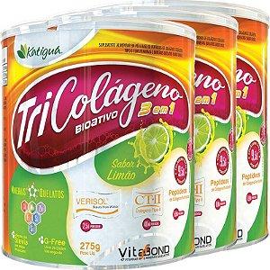 Kit 3 Tri Colágeno Bioativo 3 em 1 Limão 275g Katigua