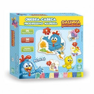 Quebra-Cabeça - Progressivo - Galinha Pintadinha - Madeira - 30 peças
