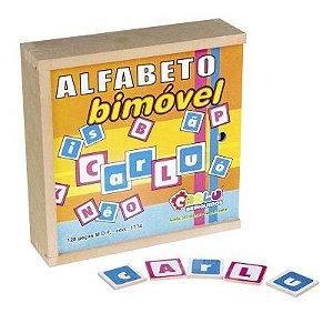 Alfabeto Bi Móvel caixa MDF