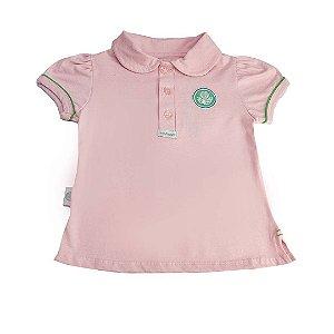 Camisa Polo Revedor Palmeiras Menina Rosa Bebê