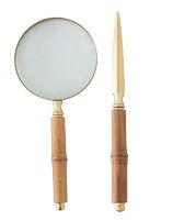 Abridor e Lupa Aço Inox Dourado com Cabo Bambu