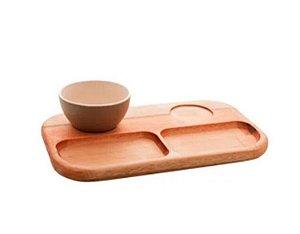 Petisqueira madeira c/2 bowls cinza