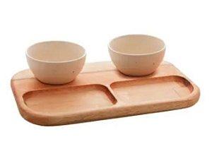 Petisqueira madeira c/2 bowls marfim