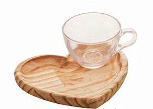 Xícara chá c/pires coração madeira