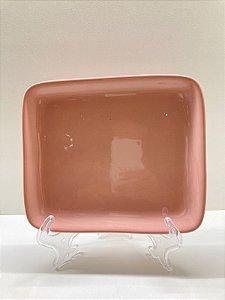 Suporte ornamental raso médio rosa pastel