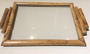 Bandejinha fundo vidro bambu