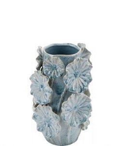 Vaso cerâmica azul G aplicação flores