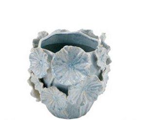 Vaso cerâmica M azul aplicação flores