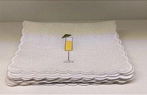 Guardanapos de coquetel linho branck Drinks conjunto 6un