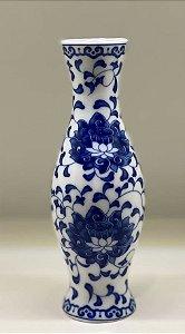 Vaso cerâmica floral azul