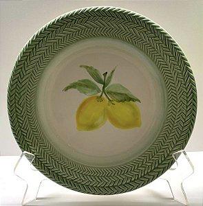 Prato raso limão borda treliça - jogo com 6unidades