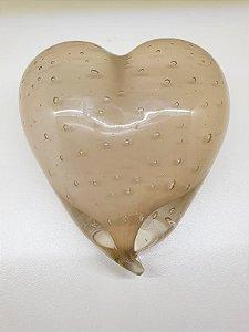 Coração em Murano Champagne translúcido