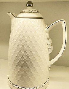 Garrafa térmica em Porcelana friso prata