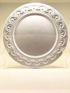 Prato jantar Raso princess branco -conjunto c/ 6unidades