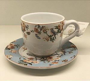 Conjunto com 6 xícaras café floral