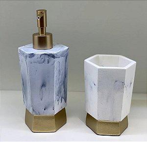 Kit para banheiro em resina cinza e dourado